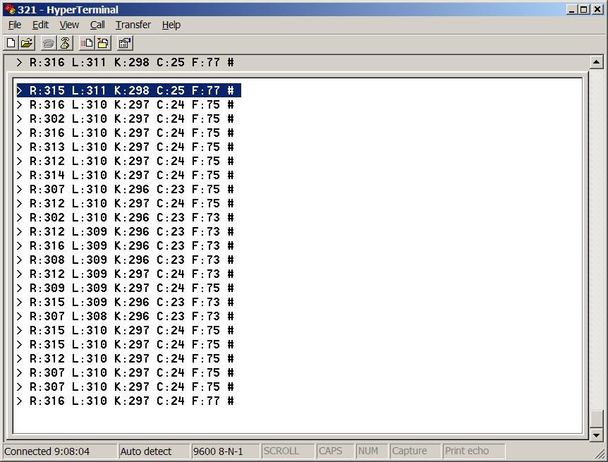 ATtiny85 Internal Temperature Sensor Readouts